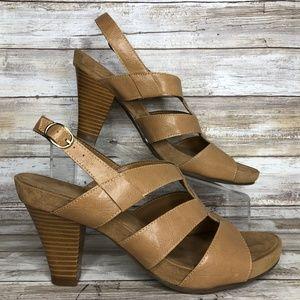 Aerosoles 10M Brown Stacked Heel Dress Sandals.